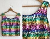 50s Rainbow Color Sequin Blouse Tank Blouse Crop Shell TopSparkle S M Vintage