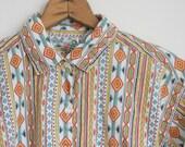 Yellow Graphic Print Cotton Shirt Vintage 80s