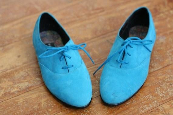 Vintage Blue Suede Oxford Flats Shoes Lace up 6