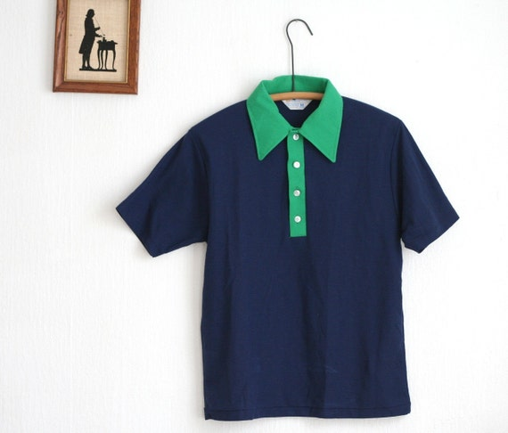 Navy Blue Polo Tee Shirt Green Vintage 70s Unisex Medium
