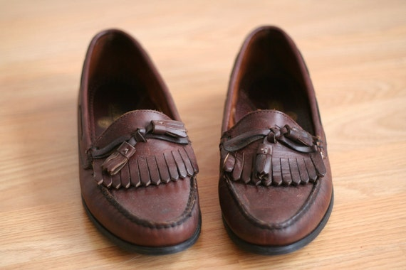 Deep Brown Leather Loafers Flats 8 Vintage Prep Oxfords School