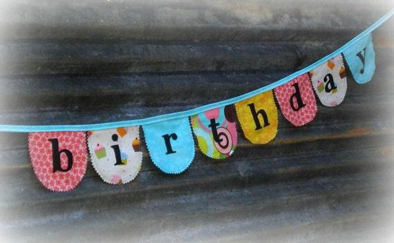 fabric Happy Birthday banner / bunting cheery cupcakes