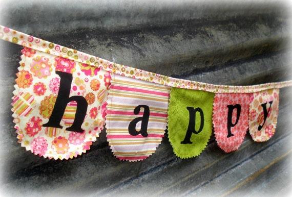 fabric Happy Birthday banner / bunting
