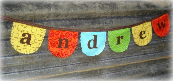custom personalized banner / bunting 6-7 panels