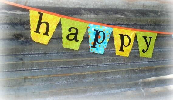 fabric happy birthday carnival circus bunting / banner