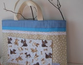 Children's large Tote / Library bag with dogs on hte pocket