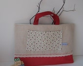 Children's large Tote / Library bag with lace