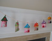 My neighborhood garland/banner/bunting - handmade colorful little houses in felt