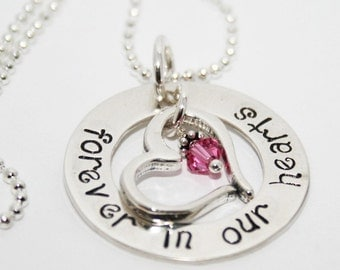 Forever in Our Hearts -- with Birthstones and Heart Outline Charm
