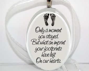 Only a moment you stayed.. Oval Glass Christmas Ornament