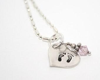 Petite Baby feet Heart Charm with Birthstone