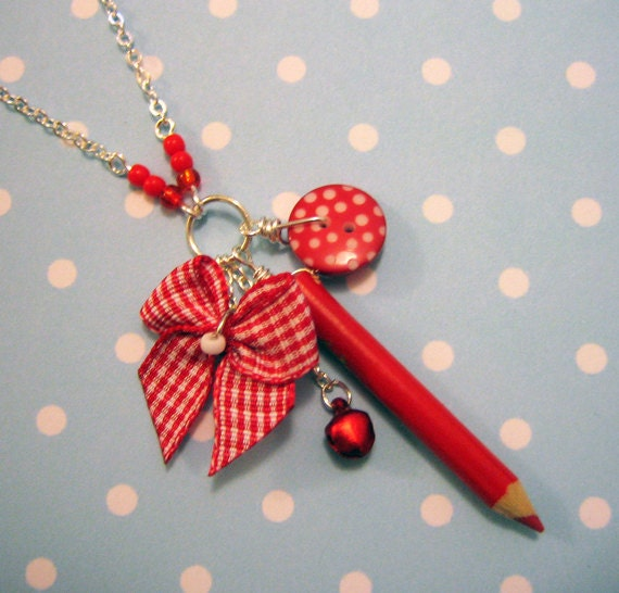 Red Pencil Cluster Necklace