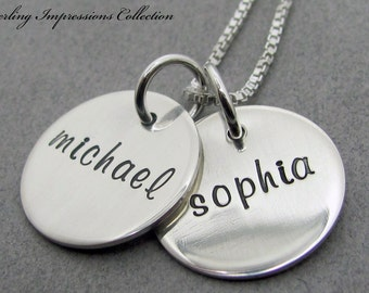 Hand Stamped Necklace - Personalized Jewelry - Sterling Impressions Two Disc Name Necklace