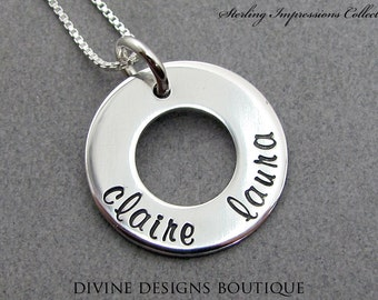 Personalized Jewelry Eternity Ring Hand Stamped Necklace Personalized Necklace Bridesmaid Gift Sterling Necklace Engraved Charm