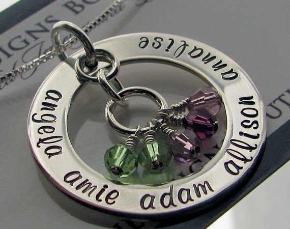 Family Necklace - Hand Stamped Jewelry - Mothers Necklace