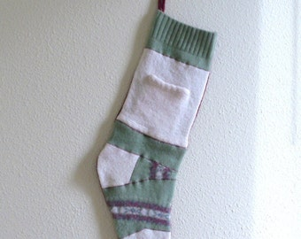 Christmas Stocking- upcycled felted sweater, traditional colors