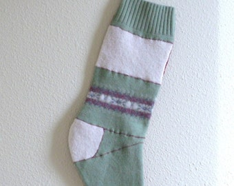 Christmas Stocking- from felted wool sweaters, traditional colors