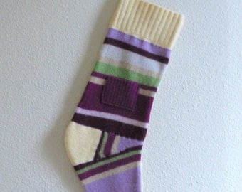 Christmas Stocking- upcycled from felted wool sweaters, funky colors