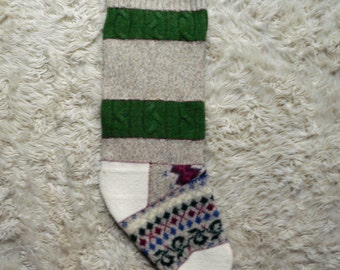 Christmas Stocking- recycled wool, masculine traditional