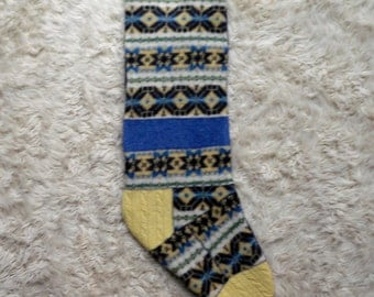 Christmas Stocking- recycled wool, funky traditional