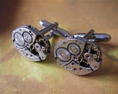 Bulova - Steampunk - Cufflinks - Cuff Links -Repurposed - Up cycled