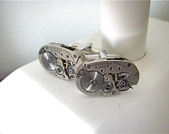 Elgin - Steampunk - Industrial - Cufflinks - Cuff Links -Repurposed - Up cycled