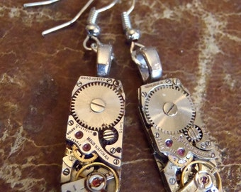 Gleam  III- Steampunk Earrings - Repurposed art