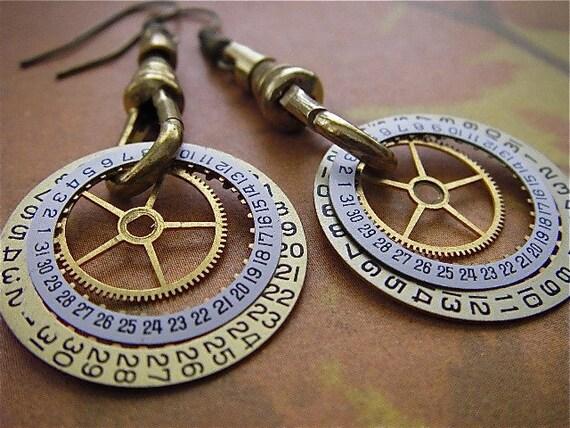 Ignite  - Steampunk Earrings - Repurposed art