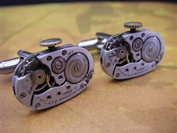 Elgin - Steampunk - Cufflinks - Cuff Links -Repurposed - Up cycled