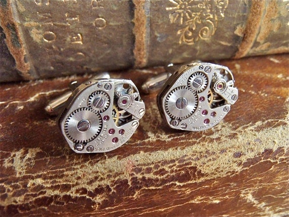 Cufflinks - Steampunk- Industrious - Cuff Links -Repurposed - Up cycled