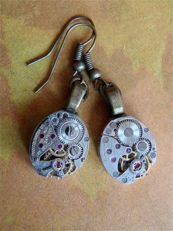 Hang Time  - Steampunk Earrings - Repurposed art