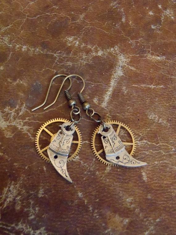 Reboot VI- Steampunk Earrings - Repurposed art