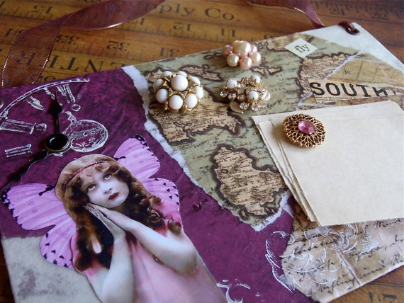 Steampunk Time Keeper Magnet Board - One of a Kind - Collage - with vintage clock hands and vintage earring magnets