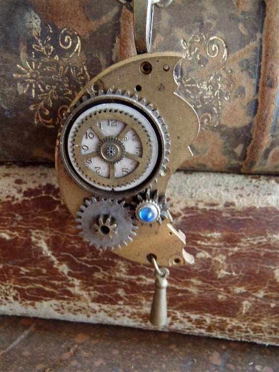 Steampunk pendant - Time Passage - Steampunk Necklace - Repurposed art