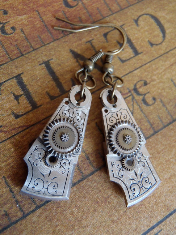 Archaic - Steampunk Earrings - Repurposed art