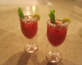 """1"""" Miniature Bloody Mary Earrings w/ Salt Rim, Celery and Tiny Lime Wedge"""