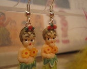 "1"" Miniature Kewpie Retro Hula Girl Earrings - Handmade by Daun Thompson"