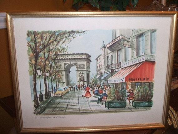 Vintage Champs Elysees Paris Framed Print