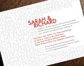 Printable Wedding Invitations - Typography Wedding Invite - Gray and Red Wedding Invitation - Instant Download - Modern Wedding Invitation