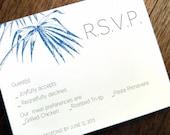 Printable RSVP Card - Response Card Download - Instant Download - RSVP Template - Response Card - Blue Palm rsvp card - Navy Palm Frond PDF