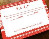 Printable RSVP Card - Response Card Download - Instant Download - RSVP Template - Response Card - Red Mexican Response Card - Folk Art PDF