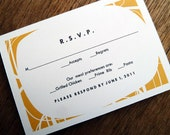 Printable RSVP Card - Response Card Download - Instant Download - RSVP Template - Response Card - Mid Century rsvp - Orange, White and Black