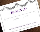 Printable RSVP Card - Response Card Download - Instant Download - RSVP Template - Response Card - Gray Garland & Purple Text - Vintage rsvp