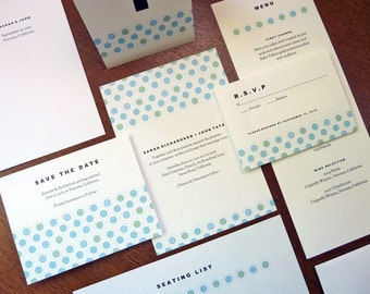 Printable Wedding Invitation Set - Instant Download - Wedding Printables - PDF Wedding Templates - Turquoise Circle Pattern - Invite PDFs