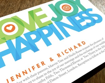Printable Wedding Invitations - Love Joy Happiness - Big Typography Wedding Invitations - Instant Download - Blue, Teal & Green Invitations