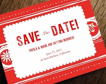 Printable Save the Date Card - Save the Date Template - Instant Download - Save the Date PDF - Mexican Save the Date - Red Save the Date PDF