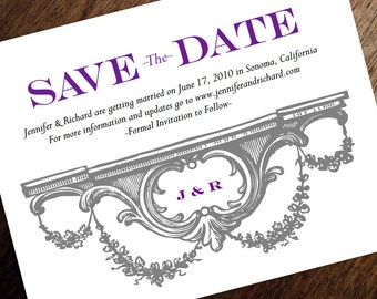 Printable Save the Date Card - Save the Date Template - Instant Download - Save the Date PDF - Vintage Gray Garlands - Purple Monogram