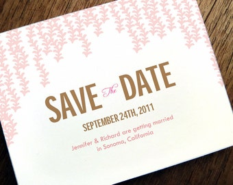 Printable Save the Date Card - Save the Date Template - Instant Download - Save the Date PDF - Pink Garland Save the Date - Pink & Brown PDF