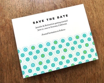 Printable Save the Date Card - Save the Date Template - Instant Download - Save the Date PDF - Mod Blue & Turquoise Circle Pattern - PDF