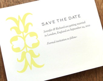 Printable Save the Date - Save the Date Card Template - Gray & Yellow Save the Date - Instant Download - Save the Date PDF Template -